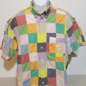 Orvis Colorful Patchwork Button Down Mens XL EUC